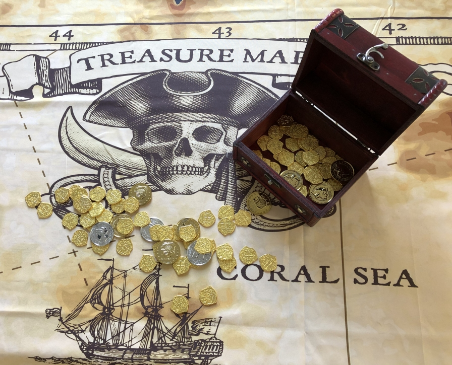 Treasure chest and map