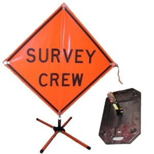 "36"" PVC Survey Crew road sign and stands"